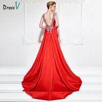 Dressv 2017 Sleeveless Evening Dress Beading Long Elegant Sample Red Sexy Backless Wedding Party Formal Evening