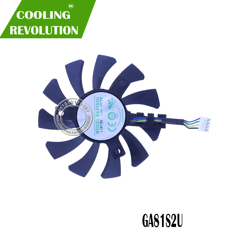 2Pcs//Lot 75mm GA81S2U DC 12V 0.38A 4Pin Dual Cooler Fan 40x40x40MM For ZOTAC Graphics Video Card Fans