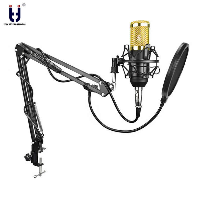 Ituf BM-800 Professional Studio Broadcasting Recording Set Condenser Microphone Ball-type Anti-wind Foam Cap Power Cable Black