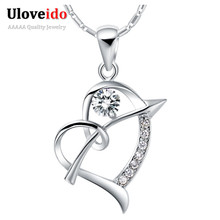 Coronary heart Crystal Pendant Necklace 925 Sterling Silver Trend Necklaces for Girls 2015 Pendants Crystal Purple Jewellery Ulove N662