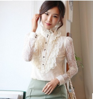 Victorian Lace Floral Ruffled High Neck Long Sleeves Blouse Frilly Top. tights