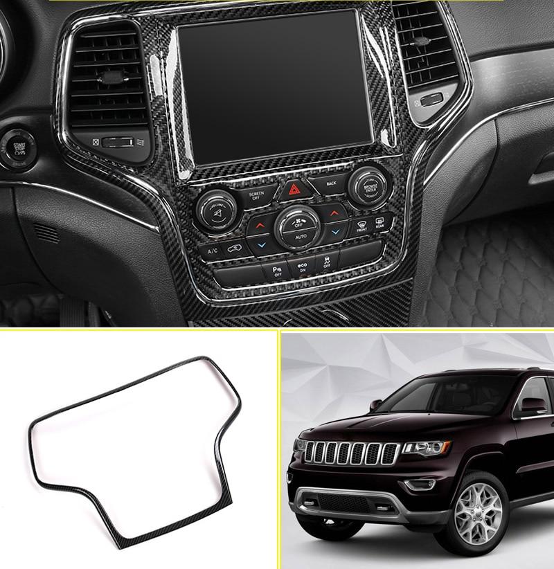 Carbon Fiber Interior GPS Navigation Panel Frame Trim For Jeep Compass 2017-2019