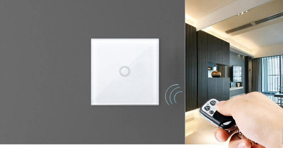 EUUK-RF433 Touch Switch-Remote Control Wall Light Switch-3 Gang 1 Way With-Cystal Glass Touch Panel   Waterproof-4