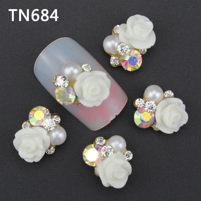 10pcs pack 3D Nail Art Decorations With Rhinestones Nails Art Glitter Jewelry for Nail Art Studs TN076 TN955 in Rhinestones Decorations from Beauty Health