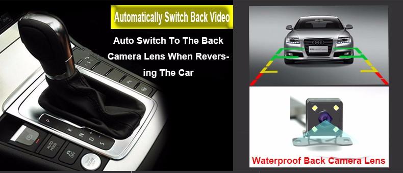 E-ACE Car Dvr Camera Led Lights Blue Rearview Mirror FHD 1080P Night Vision Video Recorder Dual Lens Auto Registrator Dash Cam 10