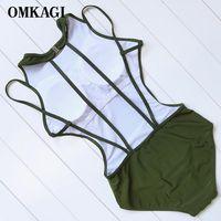 OMKAGI Sexy One Piece Swimwear Women Solid Monokini Backless Swimsuit Women Bathing Suit Bodysuit Padded Push