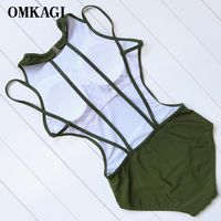 OMKAGI Sexy One Piece Swimwear Women Solid Monokini Backless Swimsuit Women Bathing Suit Bodysuit Padded Push