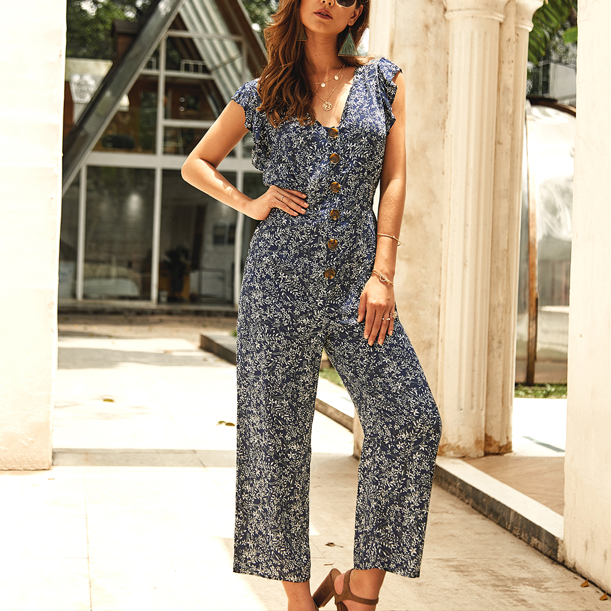 Women's Summer Boho Floral Jumpsuit Fashion Ladies Sleeveless V-Neck Playsuit Party Wide Leg Long Trousers Romper
