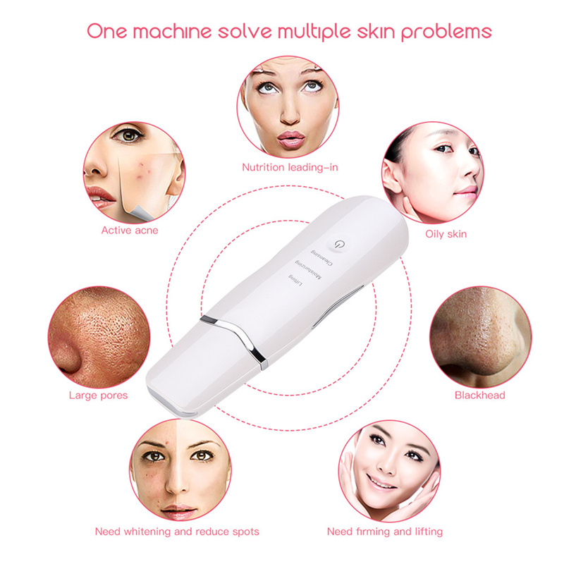 Ultrasonic Skin Scrubber Massage Machine Ultrasound Facial Pore Cleaner Skin Care Peeling Lifting+Face Steamer Nano Mist Sprayer