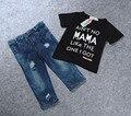 2016 летняя одежда устанавливает мальчики новый мальчик короткие джинсовые набор ребенка мальчики одежды дети футболка + джинсы 2 шт. комплект одежды детская одежда