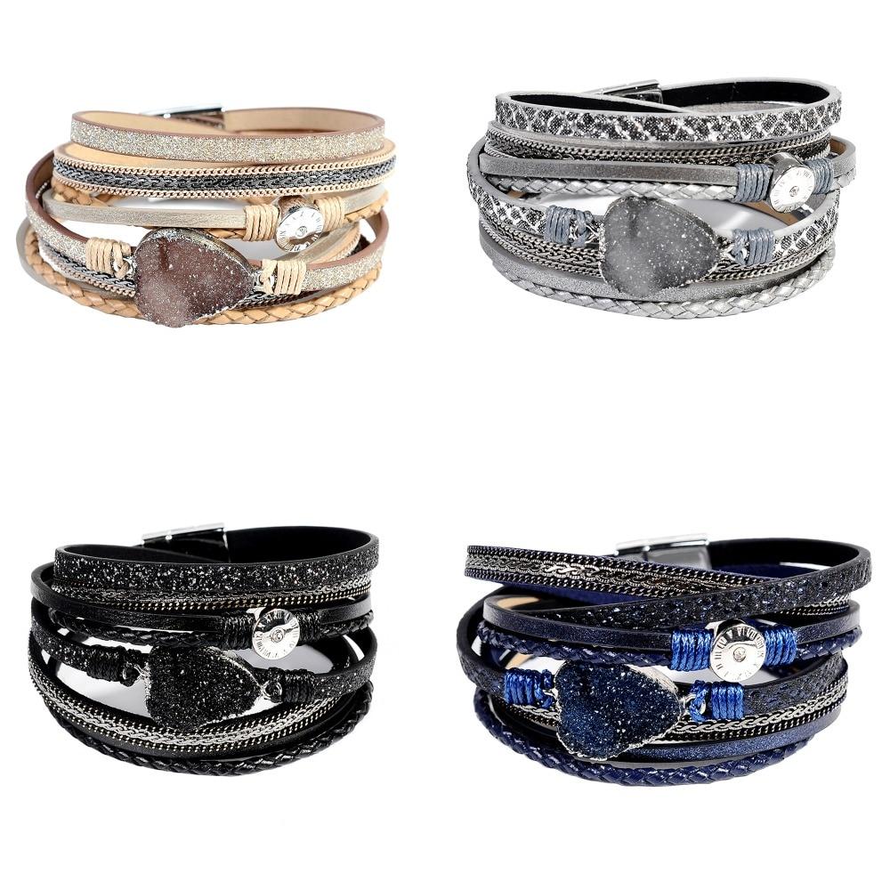Artilady wrap lederen armband charme winter lederen armband vrouwen - Mode-sieraden