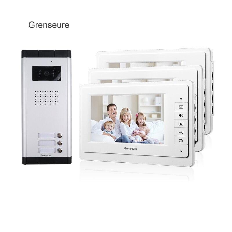 Бесплатная доставка Бренд 7 Видеодомофоны входная дверь телефон Системы 3 Мониторы 1 HD Дверные звонки Камера для 3 бытовые квартиры оптовая ... ...