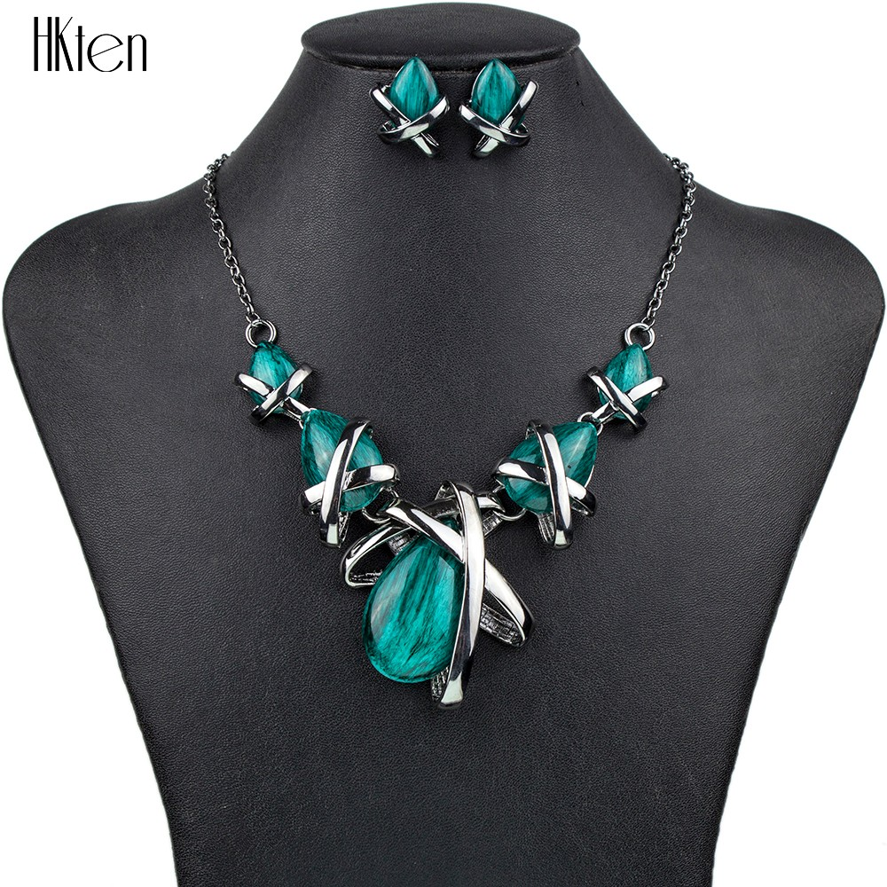 MS1504514 Fashion Brand Smycken Set Gunmetal Plated 4Colors Blue Necklace Set Bridal Smycken Högkvalitativa Party Gifts