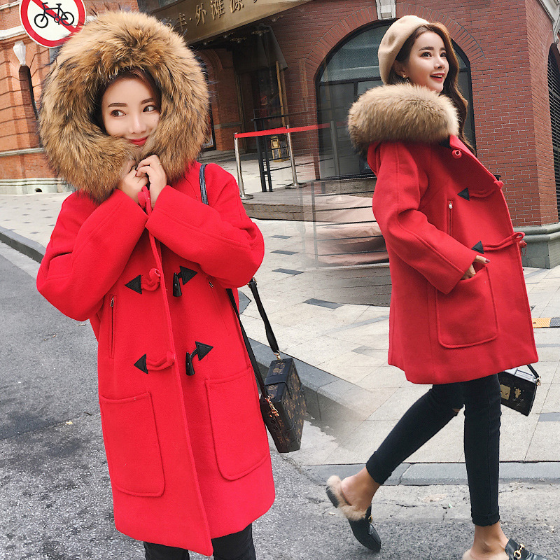 ZNCJ Fashion Women's Horn Button Coat  Newest Girls Winter Warm Fur Collar Hooded Outwear Knee-Long Loose Woolen Coats S-XL Red цена 2017
