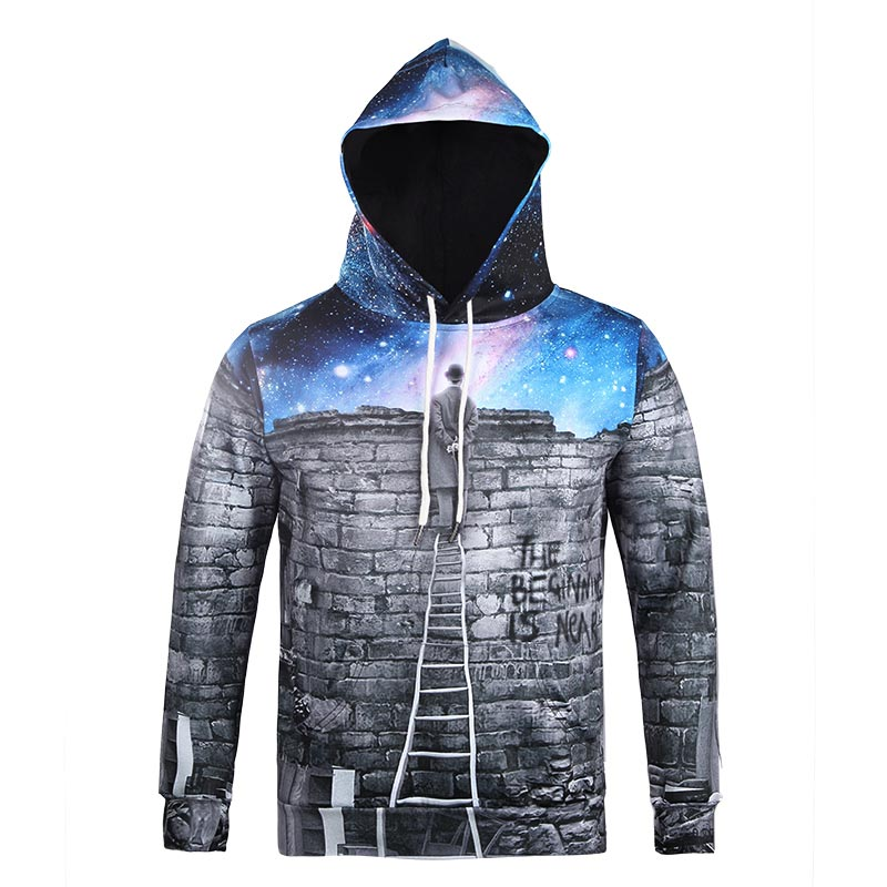 Mr.1991inc Very Nice Men/women 3d Hooded Sweatshirts With Cap Print A Person Watching Meteor Shower Space Galaxy Hoody Hoodies Men's Clothing