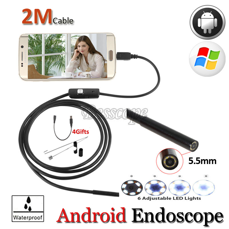 OTG USB Android Phone Endoscopy 2M 5.5mm OD lens IP67 Waterproof Snake Tube Inspection Borescope Camera 6PC LED 1M 2M Cable 2m android otg usb endoscope camera 7mm lens ip67 waterproof snake tube inspection android phone pc usb dection borescope camera