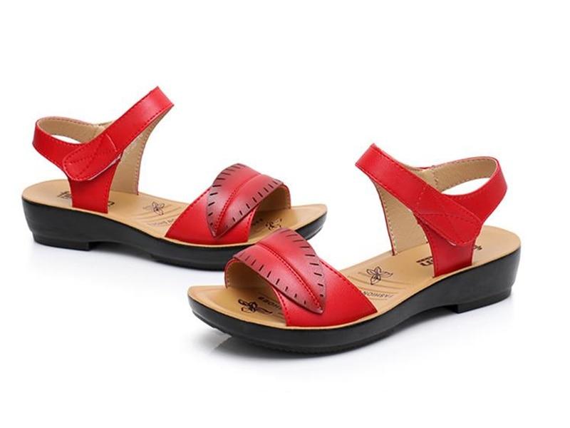 2018 new women sandals genuine leather mother's sandals flat female sandals soft bottom antiskid women sandals plus size 35-41 9