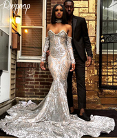 Long Sexy Women Prom Dresses 2019 Long Sleeves Mermaid Style Silver Sequin African Black Girl Beautiful Prom Dress