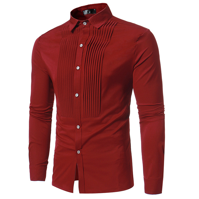 Mens Dress Wedding Shirts High Quality Mens Tuxedo Shirt Long Sleeve Summer Style Mens Brand Clothing 2018 Red Mens Shirts S3057