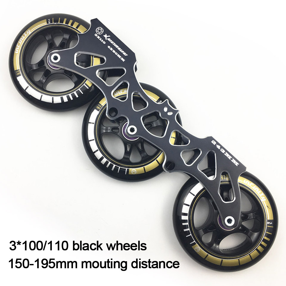 Frame & 85A Wheels & Bearings 3 * 100 / 110 mm Base for Inline Skates for Slalom Slide Skating for Adult Kids Skates Basin DJ49 slalom fsk inline skates patines for adults daily skating sports with 85a pu wheels abec 7 bearing aluminium alloy frame base