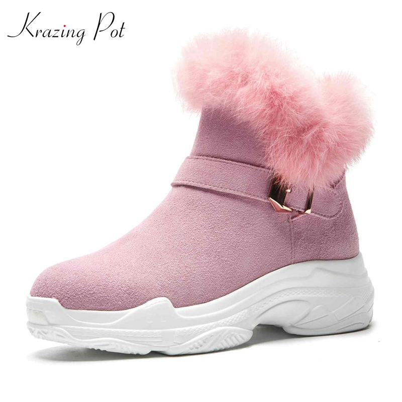 Tobillo La Vaca marrón Invierno Protección Cariño De Nieve Caliente Ante 2019 rosado Hebilla Casuales Chicas Botas Negro Krazing Frío Metal Olla L55 Para Cuñas vxHqIIX