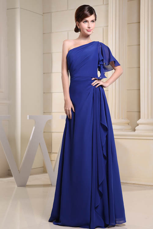 Vintage Blue Sexy Elegant One Shoulder   Bridesmaid     Dresses   Strapless Sleeveless Floor Length Long   Dresses   for Wedding and Party