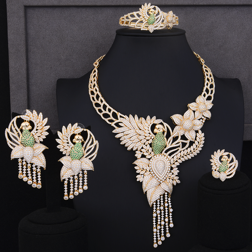 GODKI Luxury Parrot Bird Flower Wreath African Zircon Tassels Jewelry Set For Women Wedding Indian Dubai