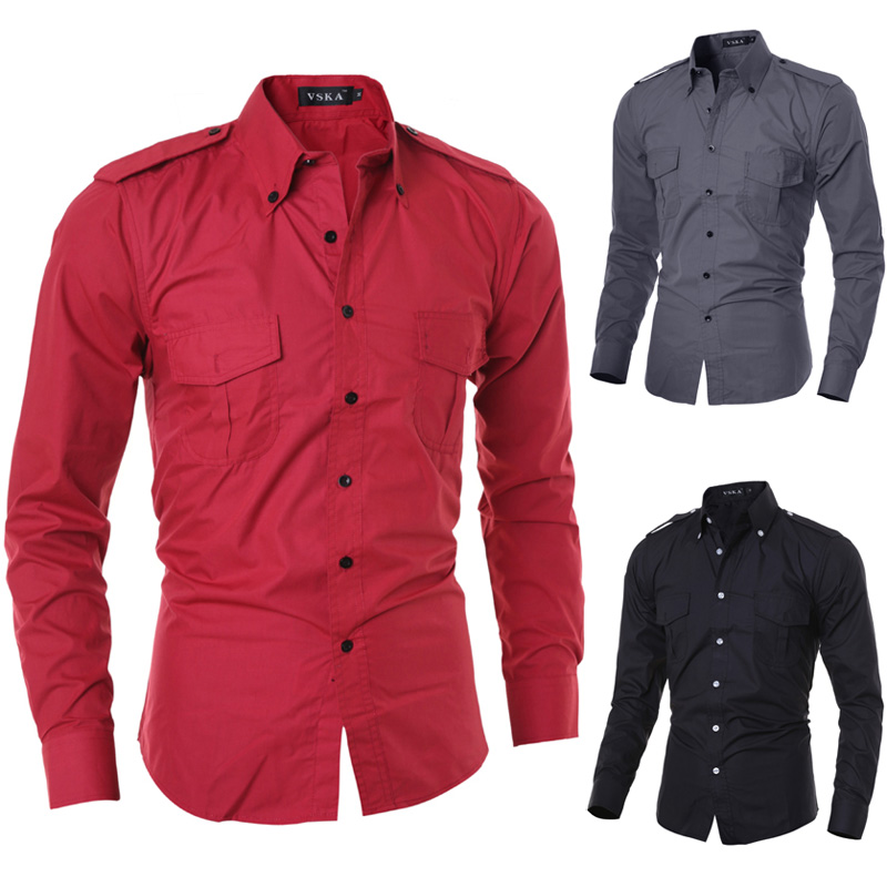 2015 New Brand Military Cargo Fashion Epaulet Design Mens Dress Shirts Long sleeve Slim Fit Casual Social Camisas Masculinas XXL ...
