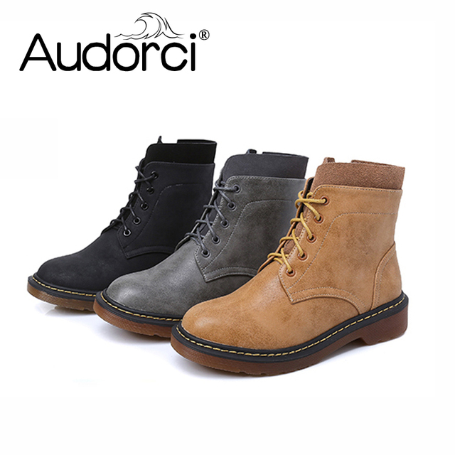 Audorci 2018 Winter Women s Fashion Boots Shoes Ladies Outdoor Walking Shoe  Woman Warm Martin Boots Size 34-43 With Fur 7d020919ad4c