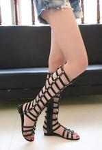 New Sandals 2016 Summer Flats Sexy Knee High boots gladiator Sandals Fashion Designer Hollow Casual Shoes