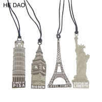 London Elizabeth Eiffel Tower Statue Of  Liberty Metal Book Markers Metal Bookmark For Books Paper Clips Office Supplies