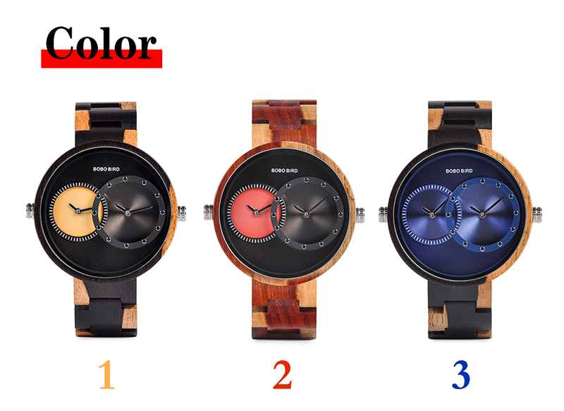 relogio masculino BOBO BIRD Watch Men 2 Time Zone Wooden Quartz Watches Women Design Men's Gift Wristwatches In Wooden Box W-R10 3