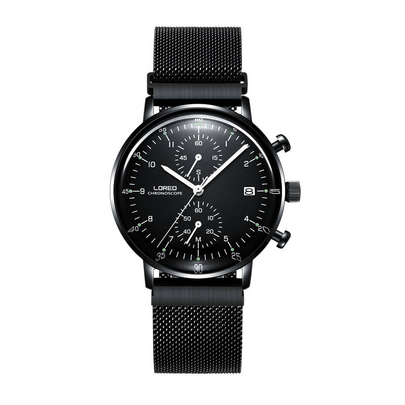 LOREO 6112 Germany Bauhaus watches black stainless steel Multifunction Calendar Chronograph corrosion resistant watch michael siebenbrodt bauhaus
