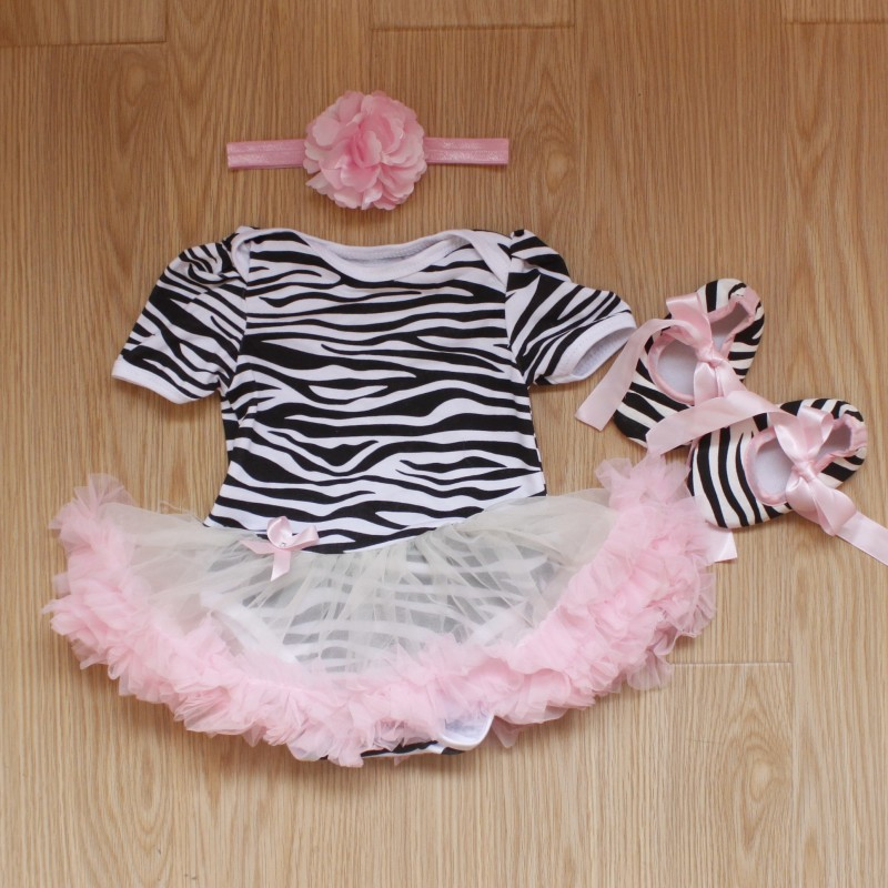 Baby Rompers 3PCs Infant Clothing Set Baby Girls Pink Zebra Print Tutu Dress Jumpersuit Headband Shoes
