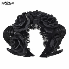 Handgjorda Black Witches Vamp Gothic Horn Pan Flower Crown Headband Halloween Cocktail Party Headpieces Fancy Dress Tillbehör