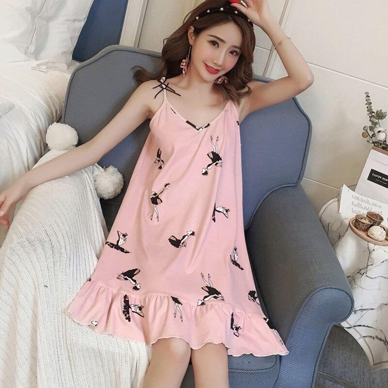 Cotton 2019 Women Summer Pyjamas Sleep Dress Cotton Printed Girls Suspender Sleepwear Halter Nightdress Casual Female Nighties