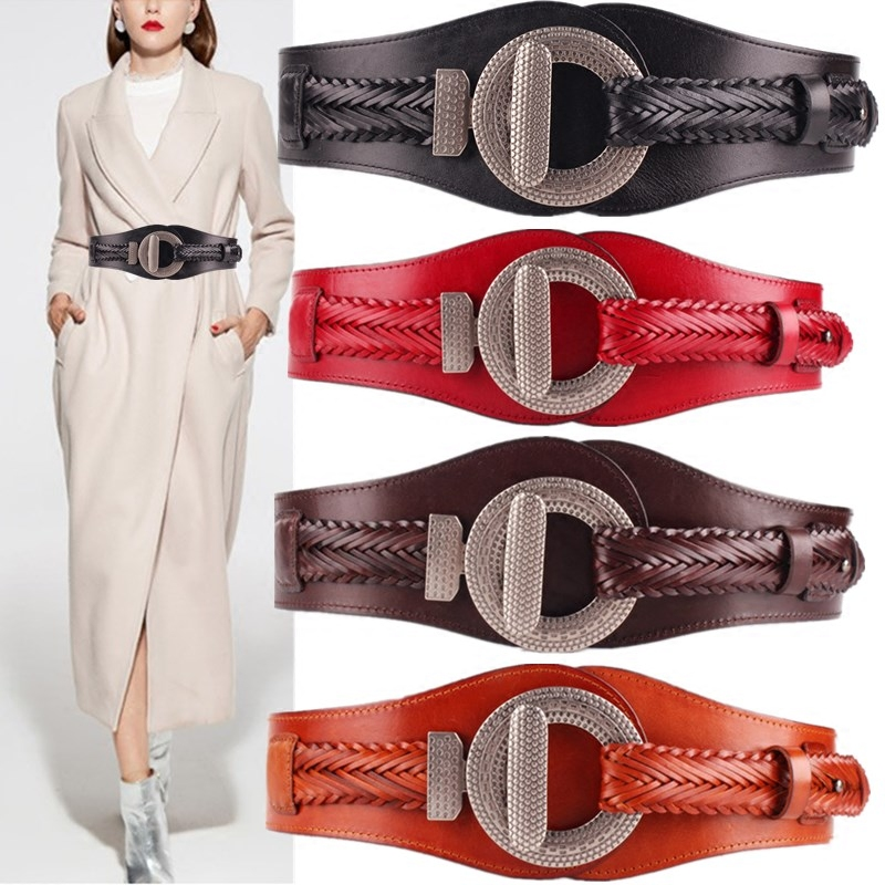 New Cummerbunds Belt Women's Accessories  Wide Waist Cowhide Weaving Fashion Elasticity Simplicity Pu