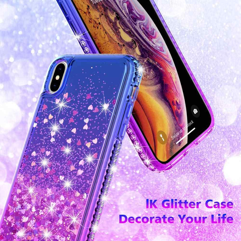 promo code e17c4 95b89 for iPhone XR XS Max Case,Gradient Quicksand Glitter Liquid Floating  Flowing Sparkle Flexible TPU Bling Diamond Clear Protective