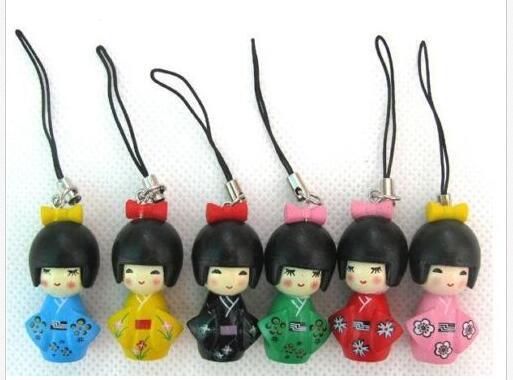 Free Shipping Wholesale 12 Pcs Girl Japanese Oriental Kokeshi Doll Handbag Charm