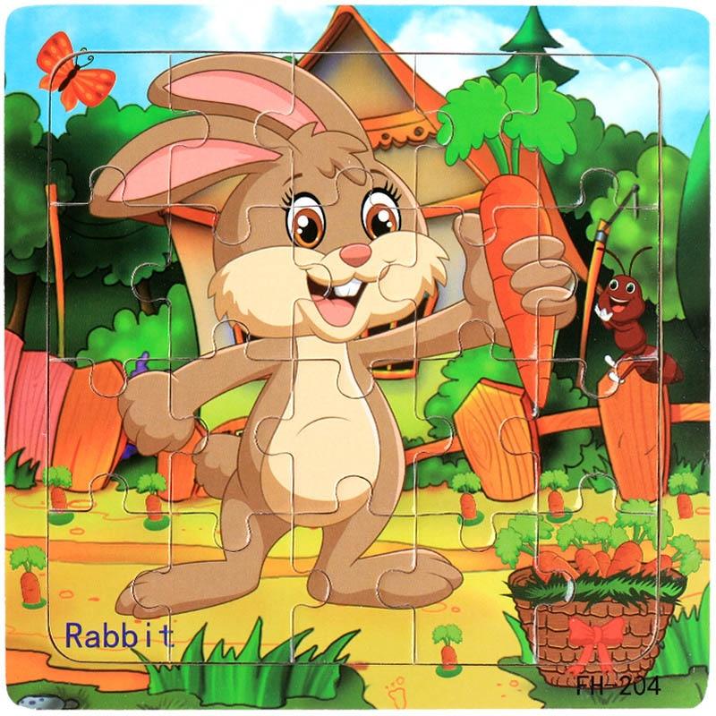 Деревянные пазлы игрушки 20 шт. дети радость Превосходное качество головоломки деревянные Мультяшные животные Развивающие головоломки игрушки для детей - Цвет: 05