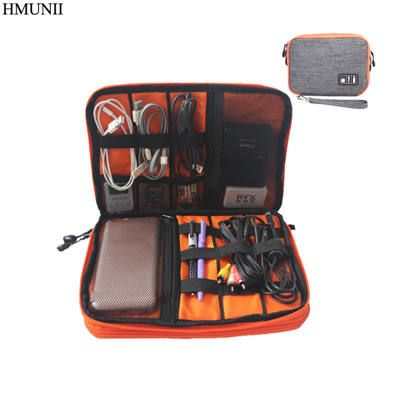 HMUNII Waterproof Double Layer Cable Bag Electronic SD card Organizer Travel Bag USB Earphone Case Digital Travel accessories все цены