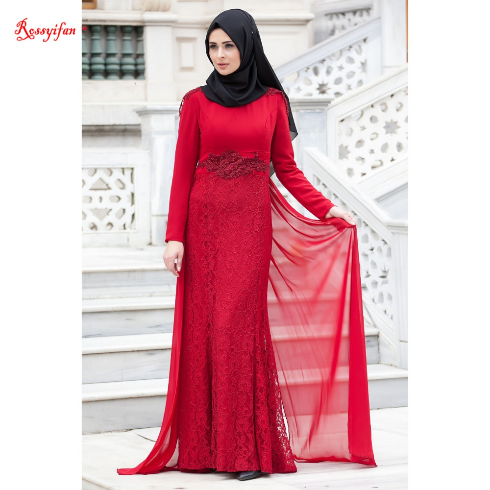 Robe De Soriee New Simple Wedding Dress Full Sleeve Lace: Elegant High Neck Red Lace Long Sleeve Formal Dress 2017
