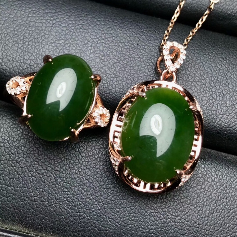 KJJEAXCMY Boutique jewels 925 pure silver inlaid natural and Tian jade jade female pendant pendant ring 2 sets of gold. - 3