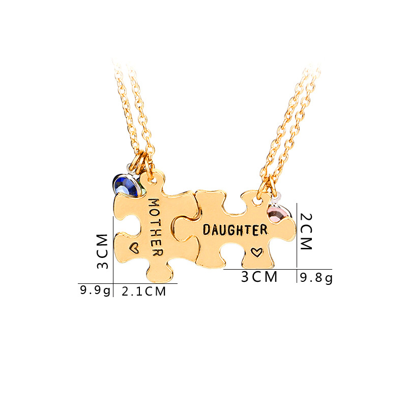 Elegant Gold Mother Daughter Puzzle Necklace  1