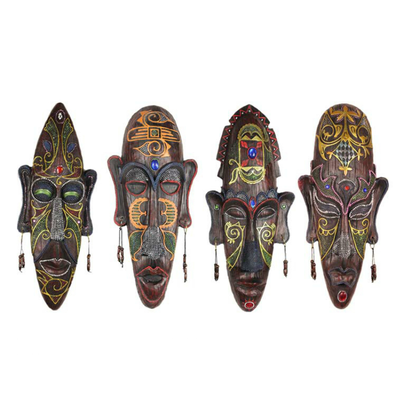 Vintage African Resin Face Mask Wall Hanging Pendant
