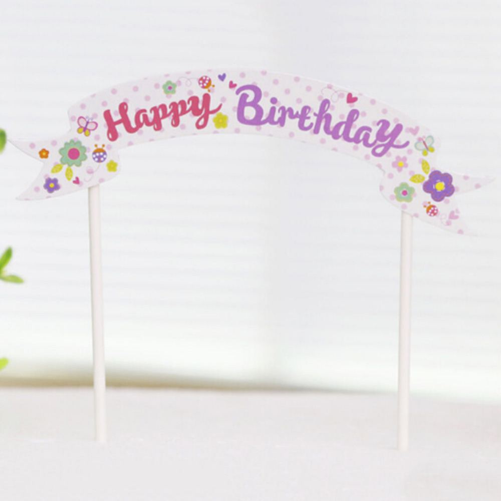 Happy Birthday Cake Banner Flag DIY Cake Flags Baby Shower Child