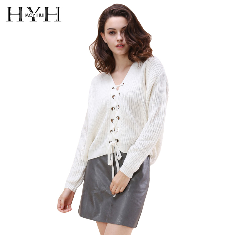 HYH HAOYIHUI Women Sweater Solid White Sweet Sweatwer V-neck Long Sleeve High-low Lace-u ...