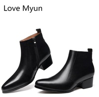 Autumn winter genuine leather men boots high heels pointed toe wedding shoes mens ankle boots quality office career work boots