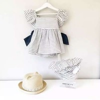 2Pcs Lot Newborn Infant Baby Girls Clothing Sets Cotton Striped Big Bow Summer Dress Shorts Baby