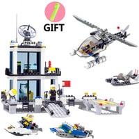536pcs Educational Police Station Building Blocks Helicopter Boat Brick Toys Compatible Legos City Bricks Set Toys